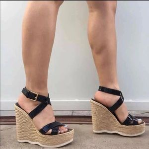 YSL Leather Espadrilles Wedges